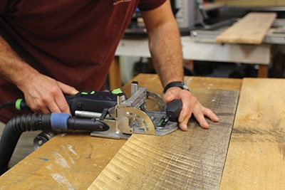 Some of the boards had to be edge-glued into larger boards. To make a stronger joint, a domino cutter was used along the edges to be joined.