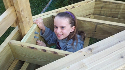 My daughter Lexi is now 15 and doesn't want to do this stuff with me. This was one of my best days as a dad. Also, you can get a closer look at the 'I-beam' post here from pergolas I built.