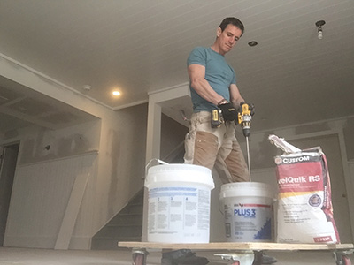 "If you have dips in the subfloor deeper than 1/4"", mix up some floor leveler and apply it as needed."