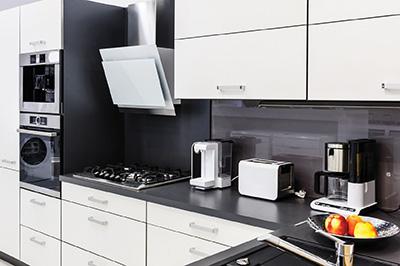 44832947 - modern luxury hi-tek black and white kitchen interior, clean design
