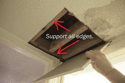 repair drywall ceiling edge