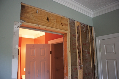Shown Is The Existing Wall Frame That Must Be Removed And Rebuilt To Rough Opening Dimensions Specified By Pocket Door Kit