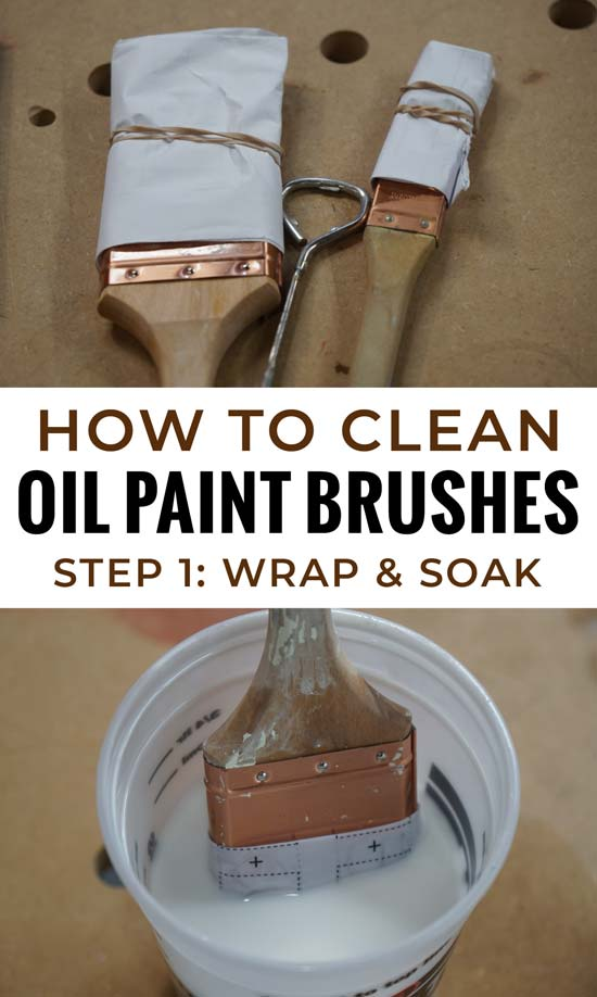 oil paint brushes wrapped in paper and soaking for cleaning