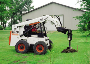 Skid Steer Loader With Post Hole Attachment