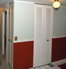 [Hall Closet Doors Before] These Metal, Louvered Closet Doors Were Not The  Look The New Owners Had In Mind For This Hallway Area. Bifold Doors