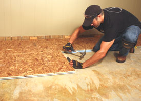 Diy steps for installing a insulated basement floor extreme how to to install first remove the old finished floor and any baseboards or floor trim prepare a level slab surface and then lay a row of panels seam to seam solutioingenieria Choice Image