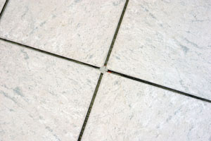 Spacers ensure even tile joints.