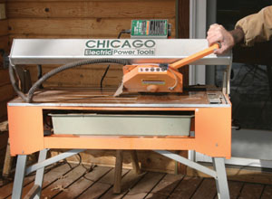 The bridge can also be tilted up to 45 degrees for cutting tile edges at an angle.