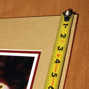"Measure the artwork dimensions carefully, and add 1/8"" to each side to allow a little wiggle room within the frame."