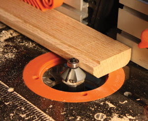 The chamfer bit gives the inside edge of the molding a bevel cut to add some decorative shadow lines.