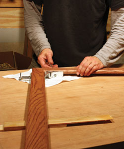 Support the long ends of the molding sticks with shims to relieve tension on the clamped joints.