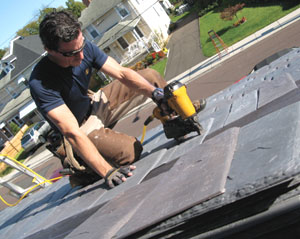 I covered the roof with DaVinci RoofScape polymer slates. The big surprise here wasn't that they looked good, it was how good they looked from inside the house--a great unintended consequence.