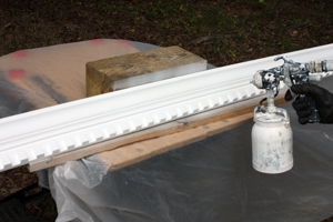 I recommend pre-painting dentil moulding with a sprayer to avoid brush-painting each individual dentil block.