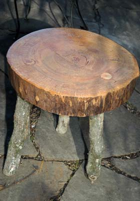 Log%20table%20just%20after%20applying%20finish%20eht Making Outdoor Log Furniture is Quick and Easy