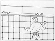 A diagram showing how to evenly space out the rebar for concrete fencing