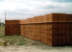 A concrete fence form with rebar in place