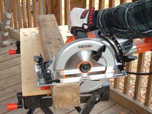 wormdrive saws such as the ridgid model shown offer higher torque than models making them great for cutting thick dimensional lumber like